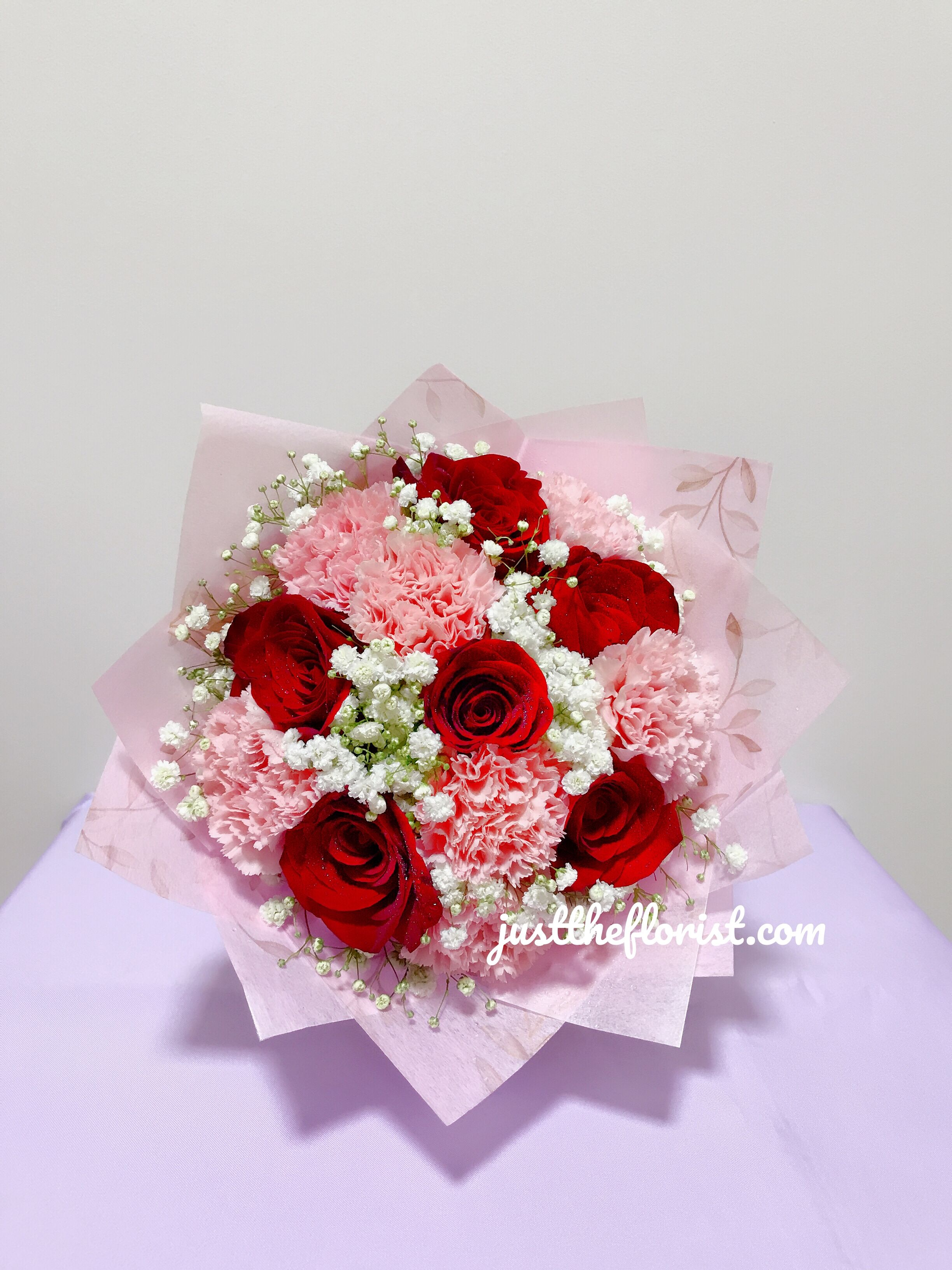 As We Approach Month Of May Introducing Our Brand New Mother S Day Series Sweet Pink Carnation With Red Roses Ready Fo Pink Carnations Red Roses Carnations