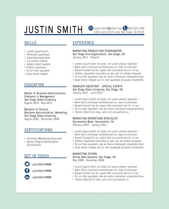 Customized Resume: The Standard. Resume LayoutResume IdeasResume ...  Great Resume Layouts