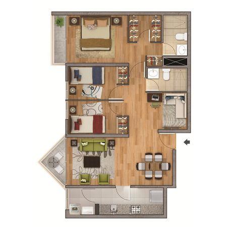 Plano De Departamento De 75m2 San Miguel Deptos Grandes - Planos-de-casas-de-una-planta-pequeas