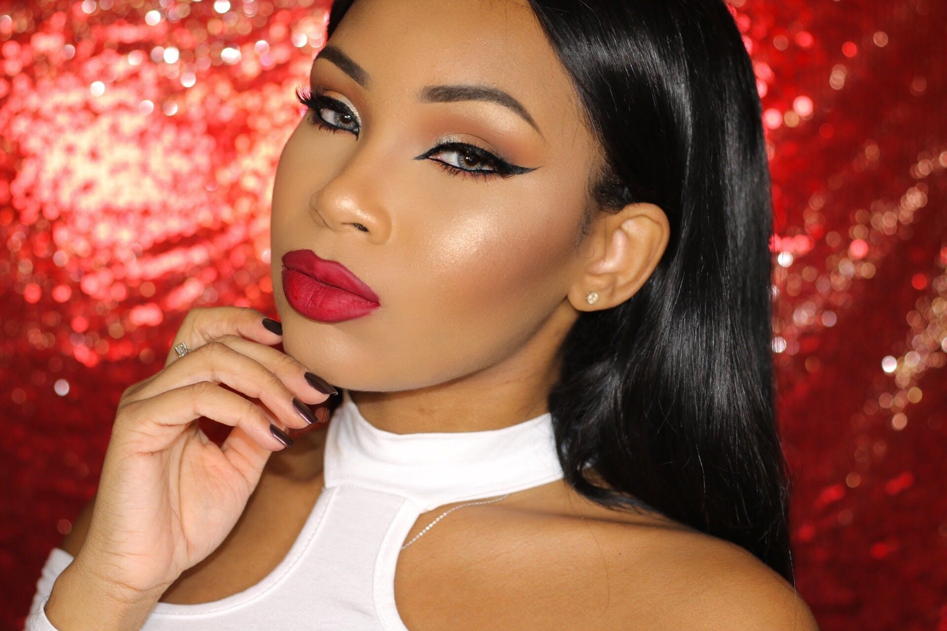 Red Lips Full Glam Aaliyahjay Red Lips Makeup Look Black