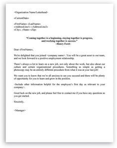 Welcome Letter Format For New Employee Business Letter Format