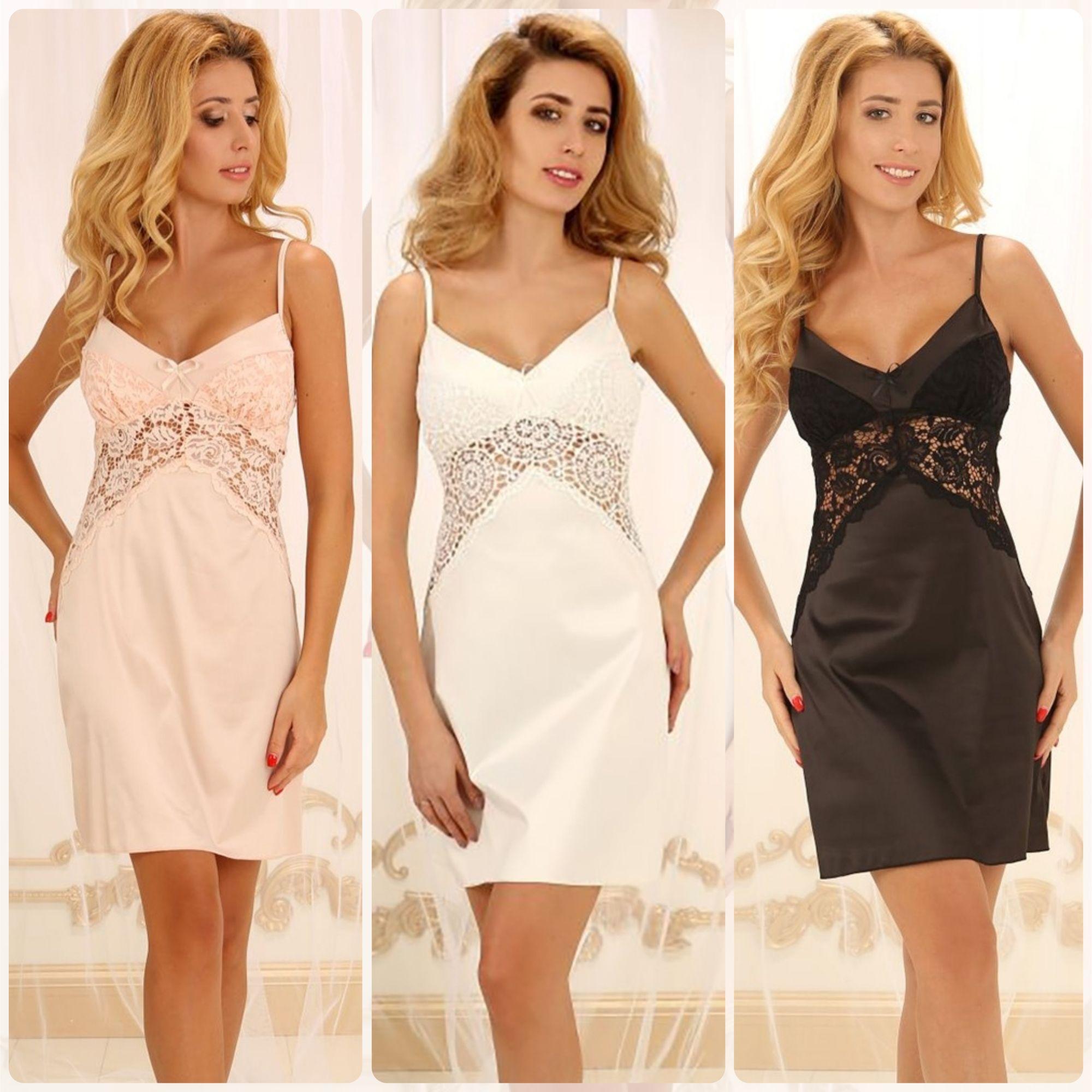 751f3fcc0b7ebe3 Элегантные женские ночные сорочки из шелк-сатина и кружева от ТМ Violet  delux💟 #