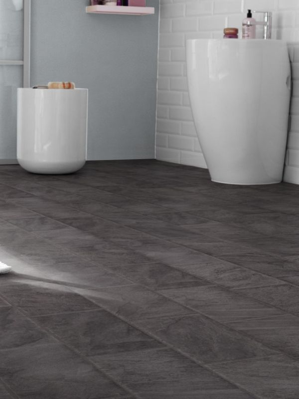 Westco 8mm anthracite slate tile effect laminate flooring - Tile effect laminate flooring for bathrooms ...
