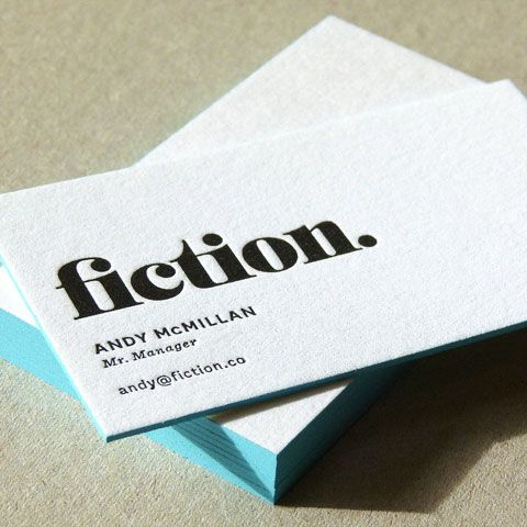 fiction love the colored sides of the cards and the simple and - letterpress business card