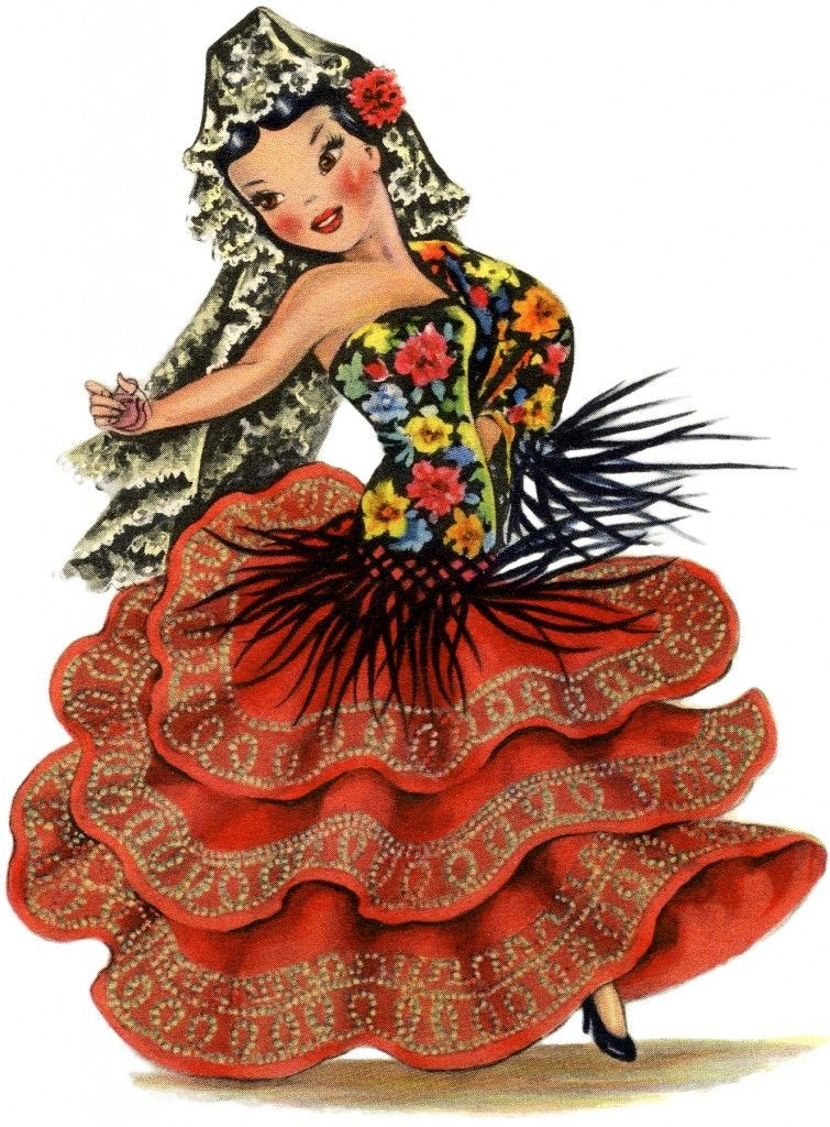 Gorgeous Retro Spain Doll Image! - The Graphics Fairy
