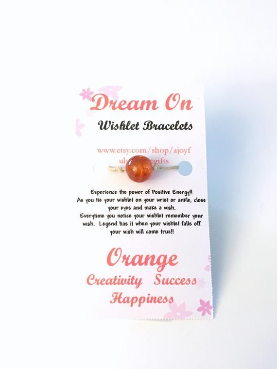 249246cba2303 Orange Wishlet Bracelet, Make a Wish Gift for Best Friend, Dream On ...