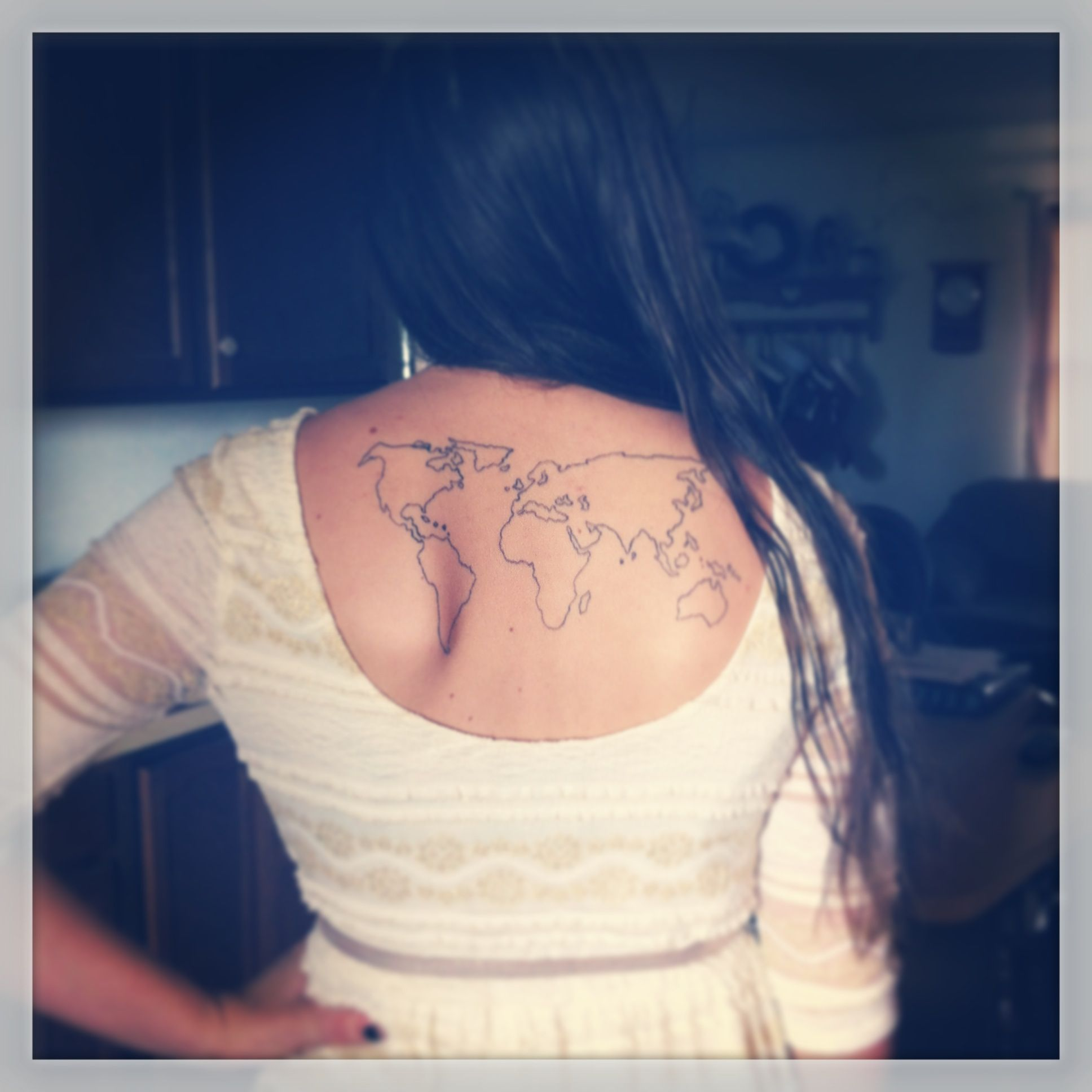 Dream tattoo i want to fill in all of the continents that ive world map tattoo gumiabroncs Gallery