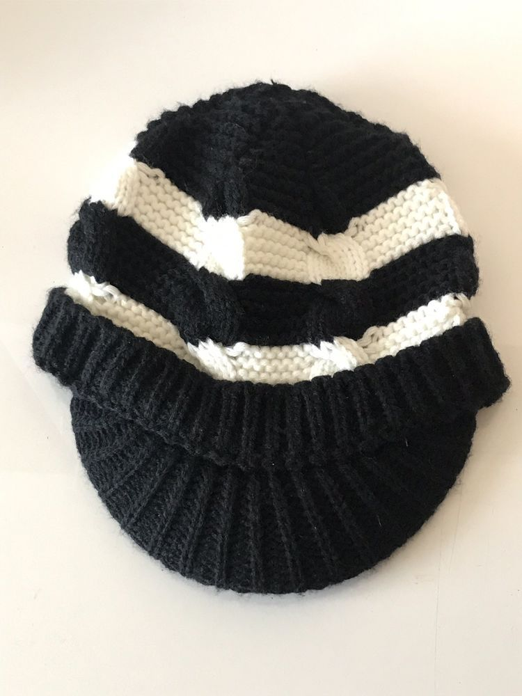12091c7eaadb4a O'Neill Brand Women's Acrylic Visor Beanie Hat Black and White Knit  #fashion #