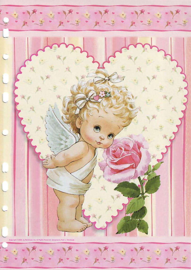 Ангелочки на открытках, розы своими руками