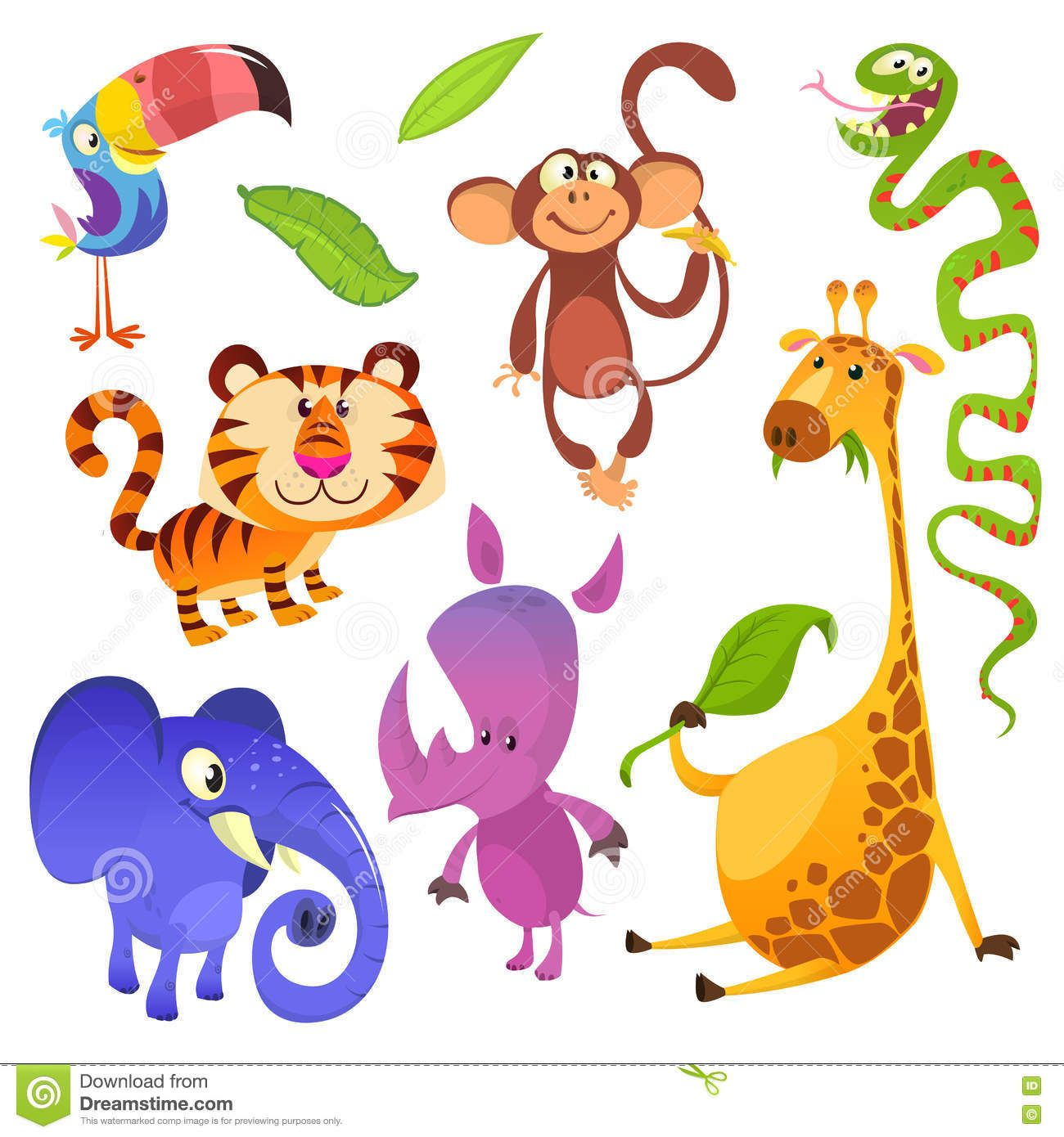 Cartoon Tropical Animal Characters Wild Cartoon Cute Animals Collections Vector Big Set Of Cartoon Ju Cartoon Jungle Animals Tropical Animals African Animals