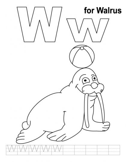 W For Walrus Coloring Page With Handwriting Practice Download Free W For Walrus Coloring Page With Coloring Pages Alphabet Coloring Pages Free Coloring Pages