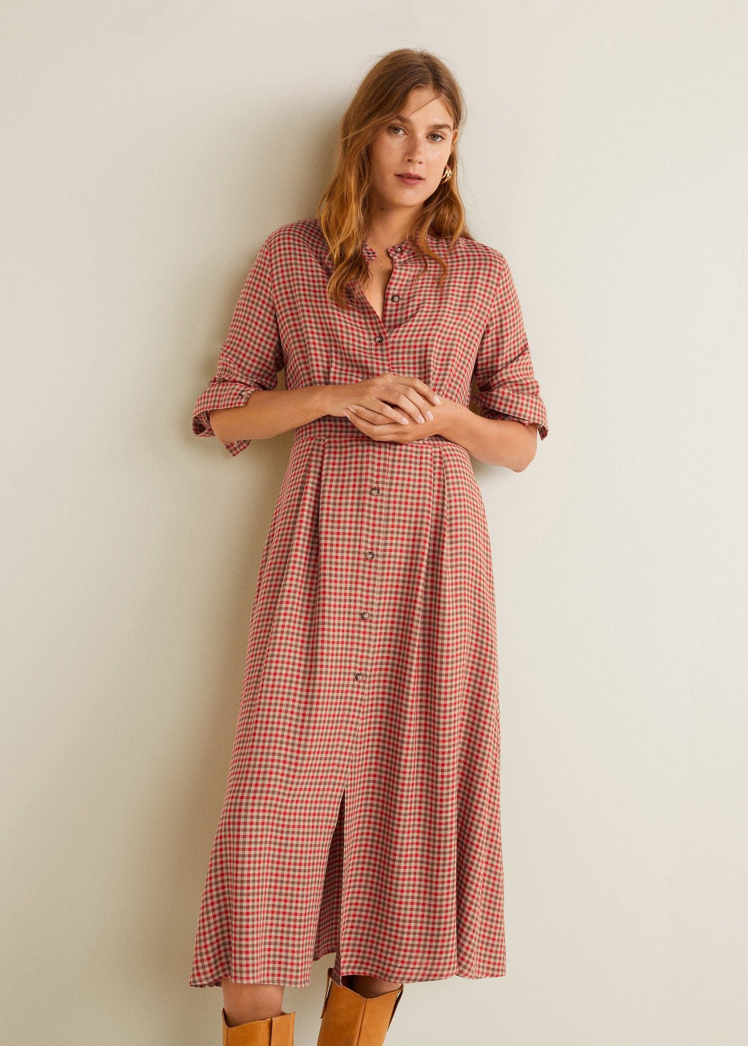Checked linen dress by Mango  e0c712aca
