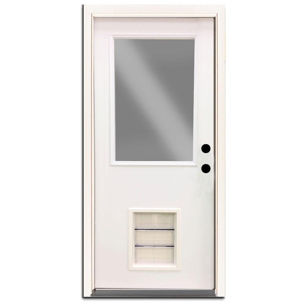 Steves Sons Premium Half Lite Primed White Steel Back Door 32 In Left Hand Inswing With Extra Large Pet Door Spd H1clpr 28 4ilh Steel Entry Doors Pet Door Steel Doors Exterior