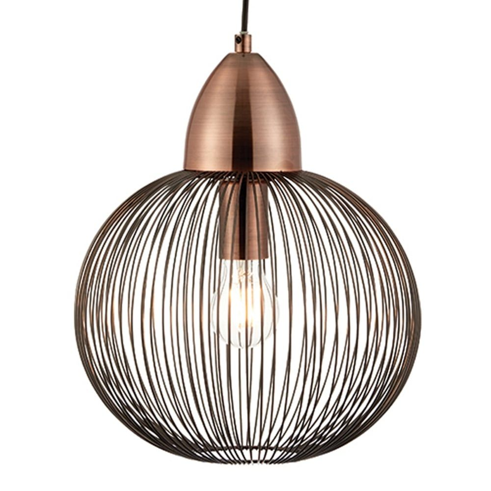 Endon Lighting Nicola Round Cage Pendant Light In Copper Cage Pendant Light Copper Pendant Lights Kitchen Pendant Lighting