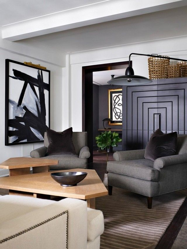 Before and After A Sleek and Sexy Midtown Apartment Gray armchair - wohnzimmer weis schwarz gold