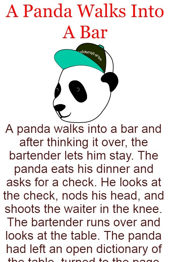 A Panda Walks Into A Bar In 2020 Latest Funny Jokes Funny Fun Facts Good Jokes