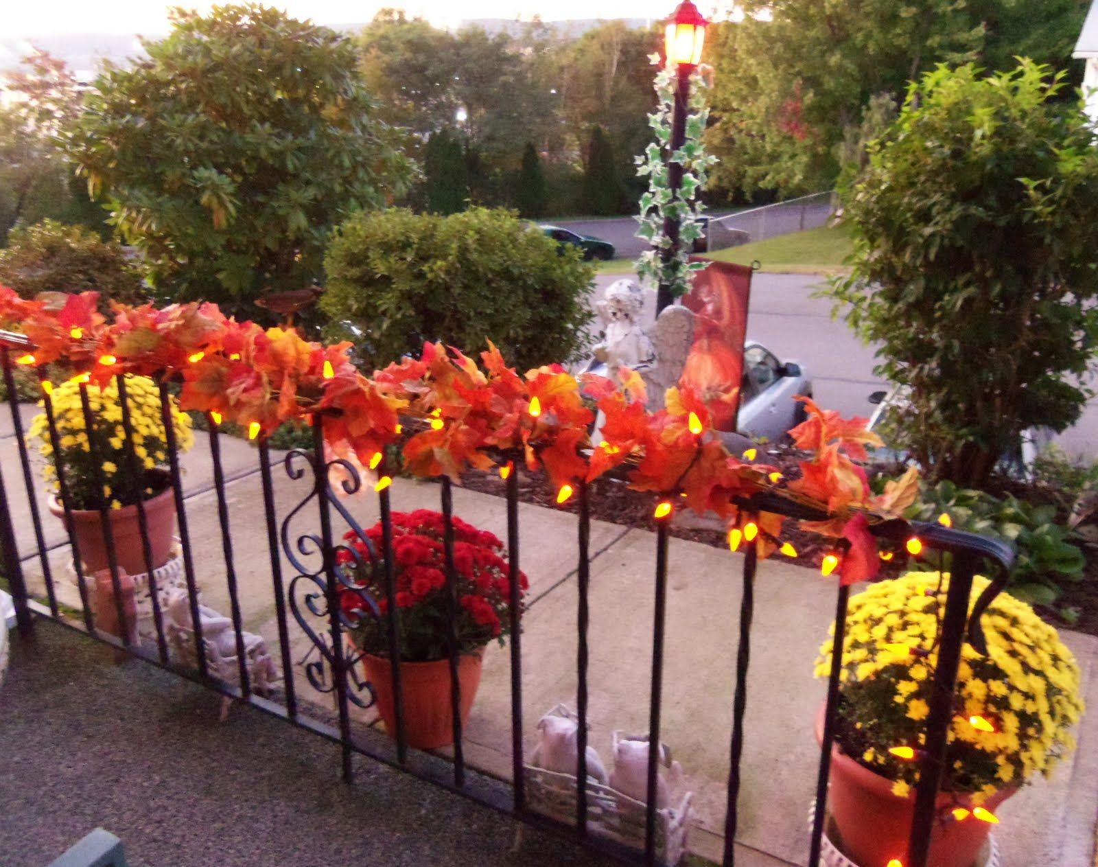 Fall Railing Decorations On The Balcony At Me Venue Fall