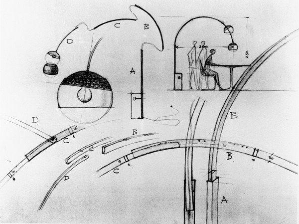 A Castiglioni Original Drawing For Arco Lamp Copiar Jpg 600 449 Arco Lamps Castiglioni Design Arco Floor Lamp