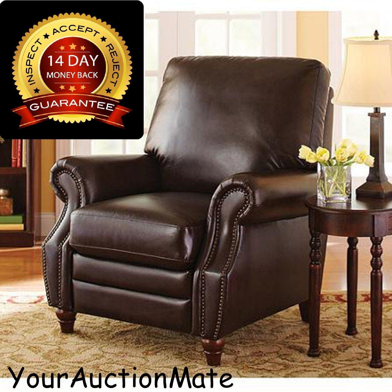 Recliner Chair Armchair Faux Leather Nailhead Trim