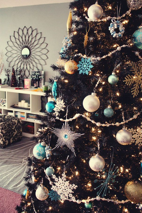 Blue Silver And Gold Christmas Tree Turquoise Christmas Gold Christmas Decorations Black Christmas Trees