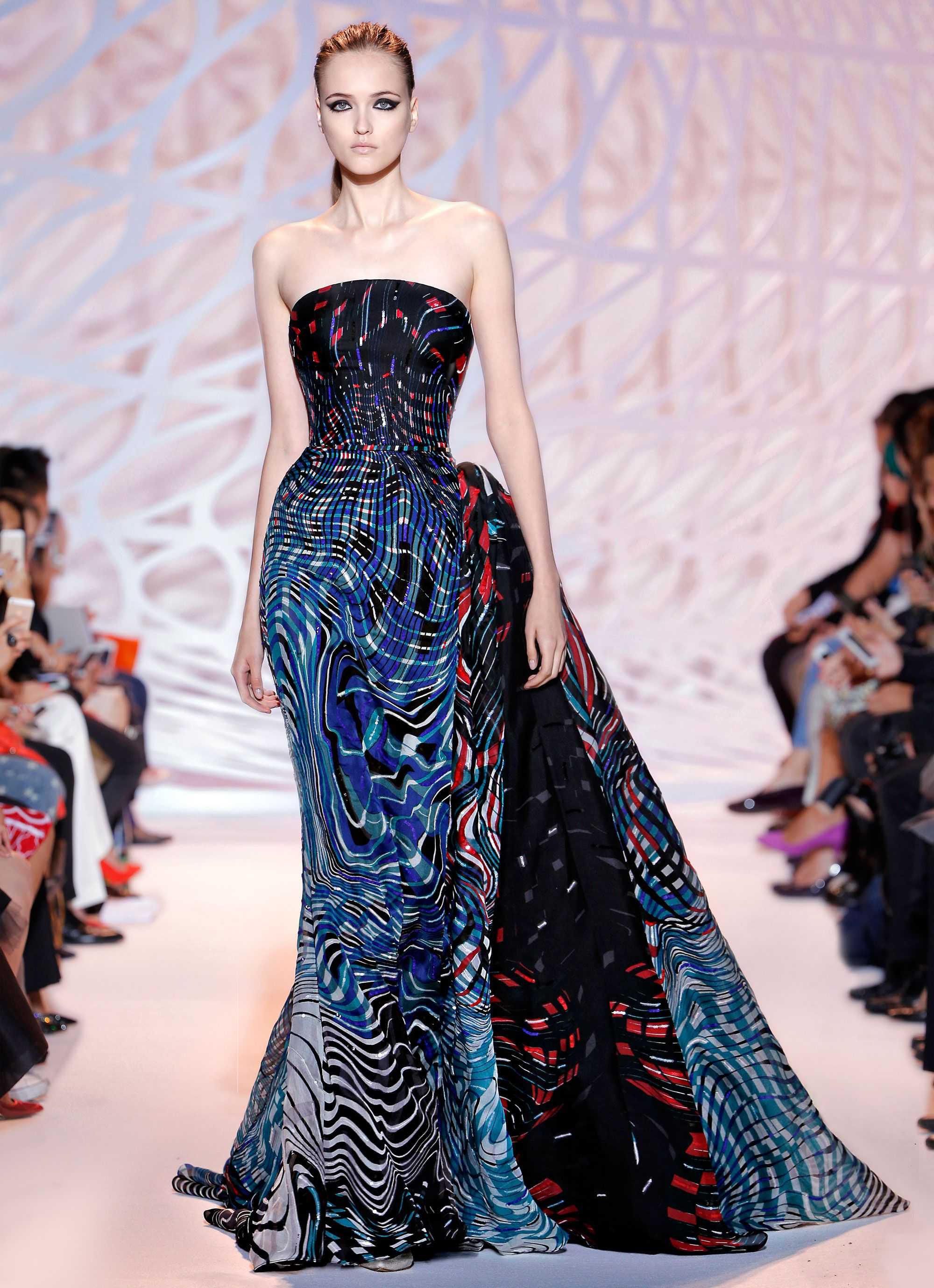 Zuhair murad fitted silk tulle gown with plunging neckline in