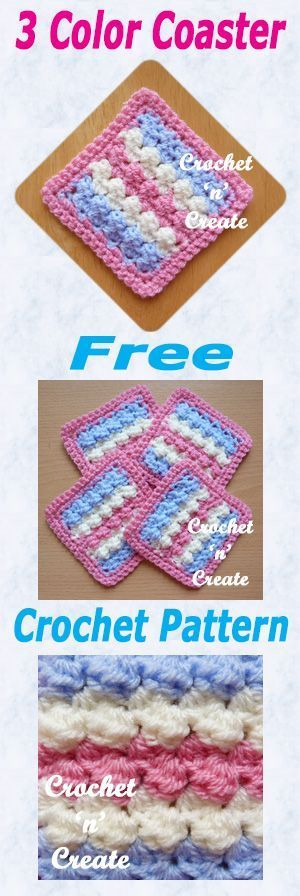 Free Crochet Pattern For 3 Color Coaster Crochet Coaster
