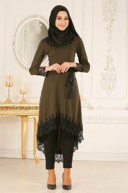 b419a129fe98b Nayla Collection - Dantel Detaylı Haki Tesettür Tunik 40490HK #hijab  #tesetturisland #tunik #