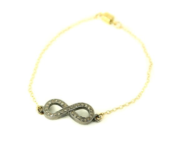 Natural Champagne Diamond Infinity Bracelet  by GOLDENSTATEJEWELS, $98.00