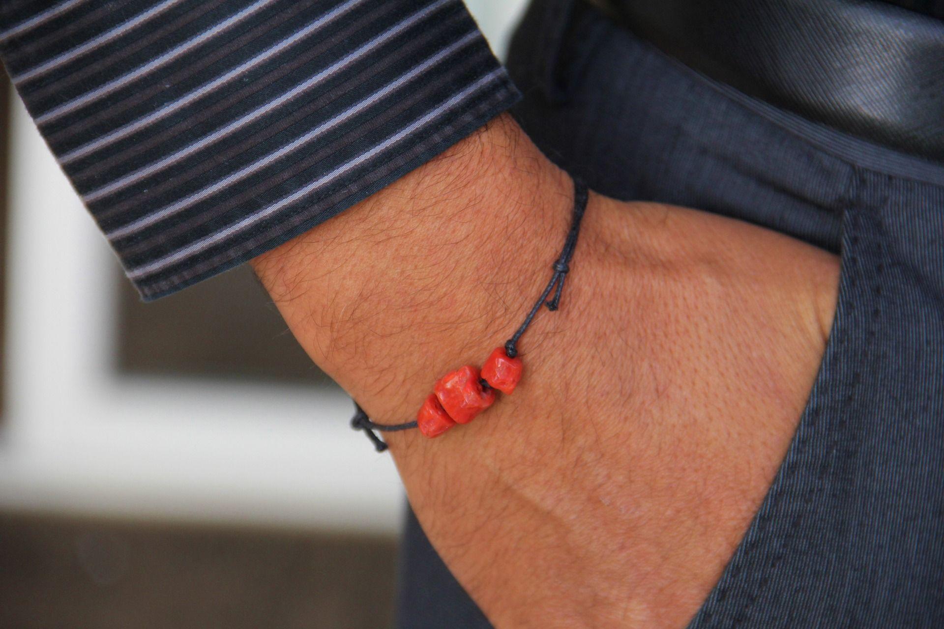Bracelet homme corail rouge