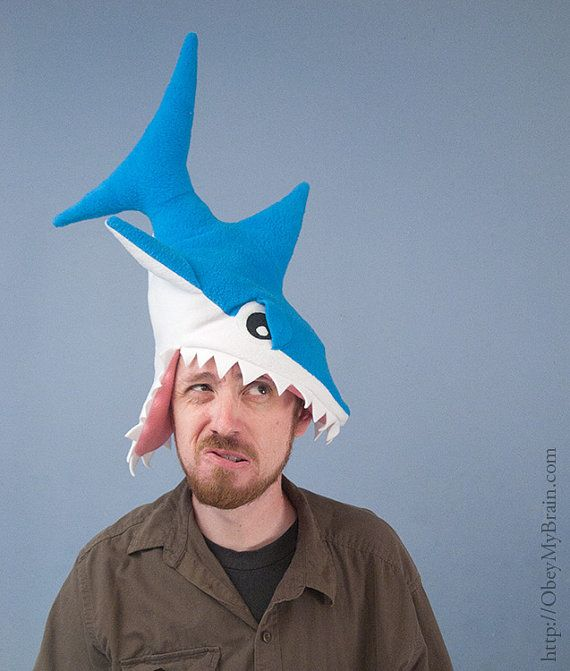 Funny Hat Caps Beanies Skullies Fedoras Berets Dress: Fleece Shark Hat - Turquoise