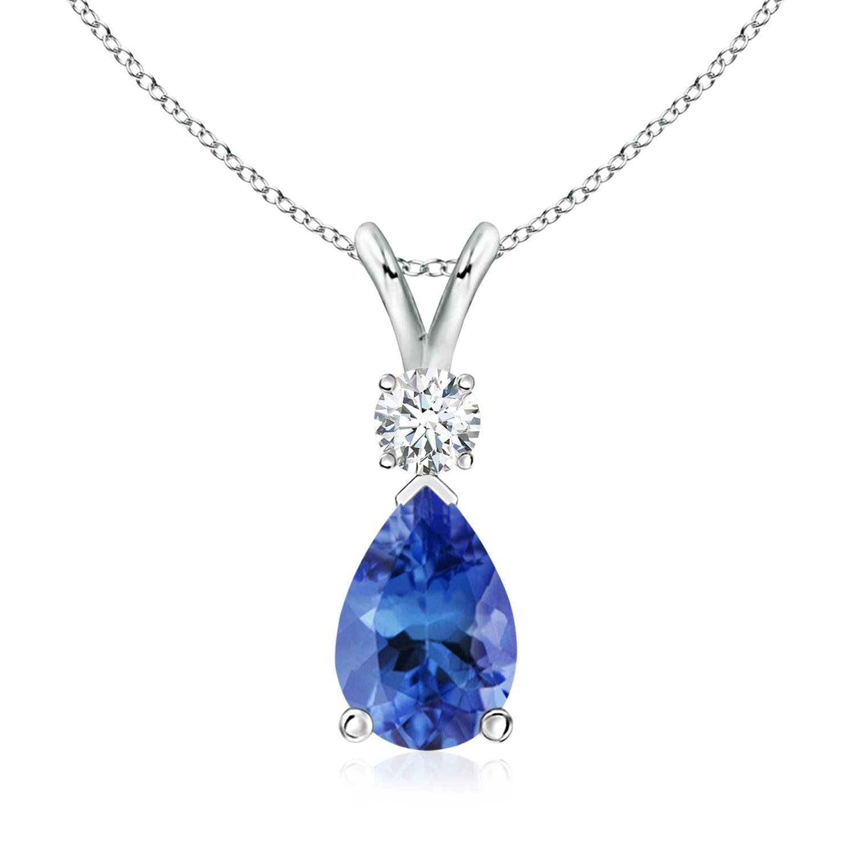 Diamond Pendant 925 Sterling Silver Tanzanite /& Diamond Natural Pave GOLD OVERLAY Pendant