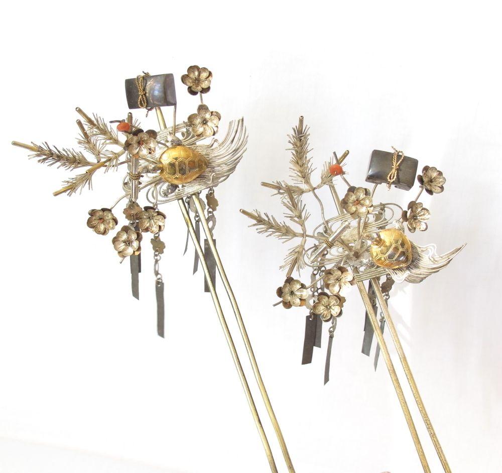 Japanese hair ornaments - Vintage Japanese Bira Kanzashi Hair Pin Ornament Of Bride S A Pair