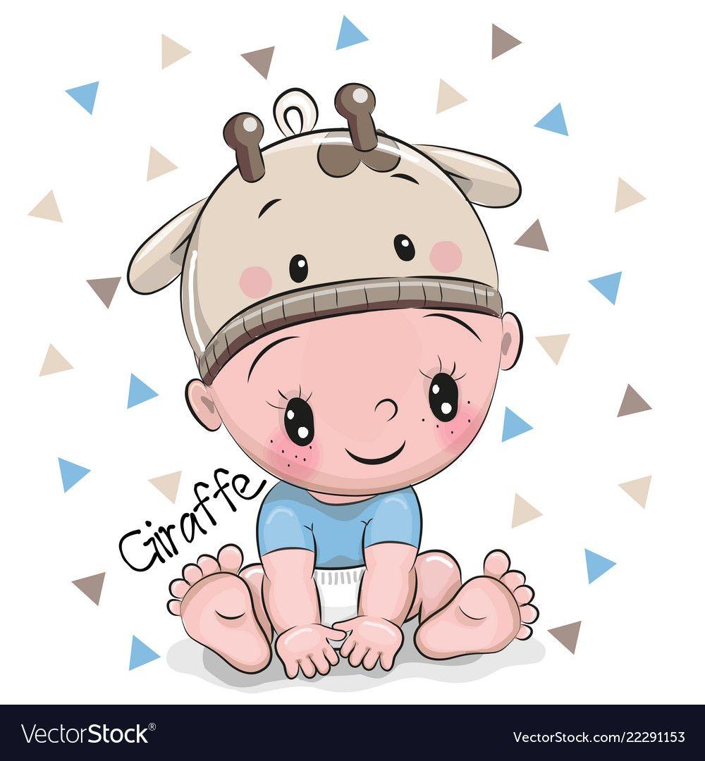 Cute Cartoon Baby Boy In A Giraffe Hat Royalty Free Vector Baby Cartoon Safari Baby Png Cute Cartoon