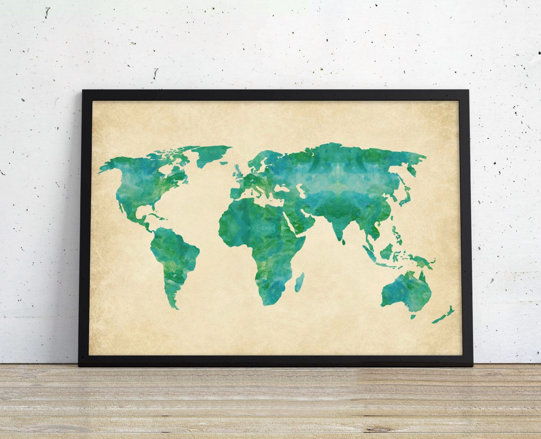 Watercolor world map art print green blue earthy jewel toned watercolor world map art print green blue earthy jewel toned painting print world gumiabroncs Gallery
