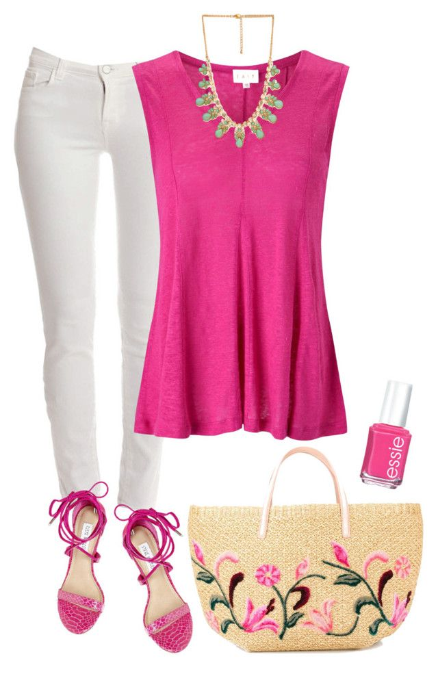 """""""Pops of Pink"""" by mk-style ❤ liked on Polyvore featuring J Brand, Steve Madden, EAST, Forever 21, Ermanno Scervino and Essie"""