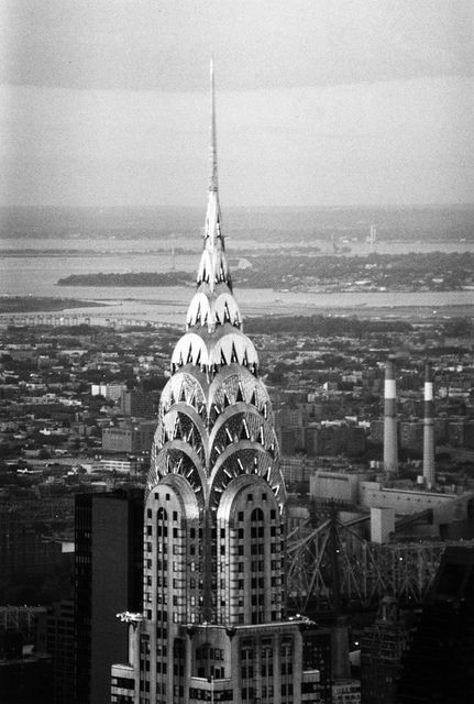 Chrysler Building From Empire State With Queens In The Background Black White Film