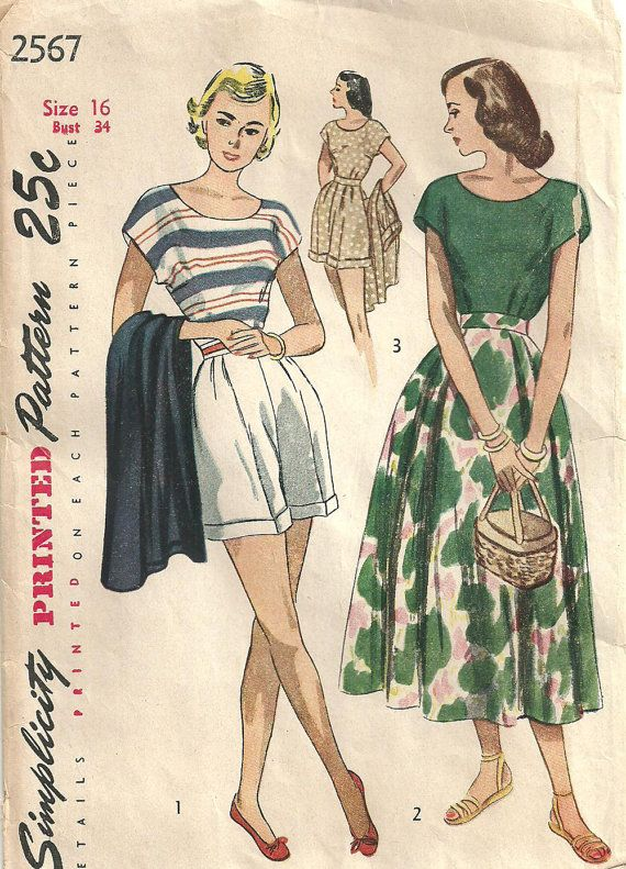 Simplicity 2567 / Vintage 40s Sewing Pattern / Shorts Skirt Playsuit ...