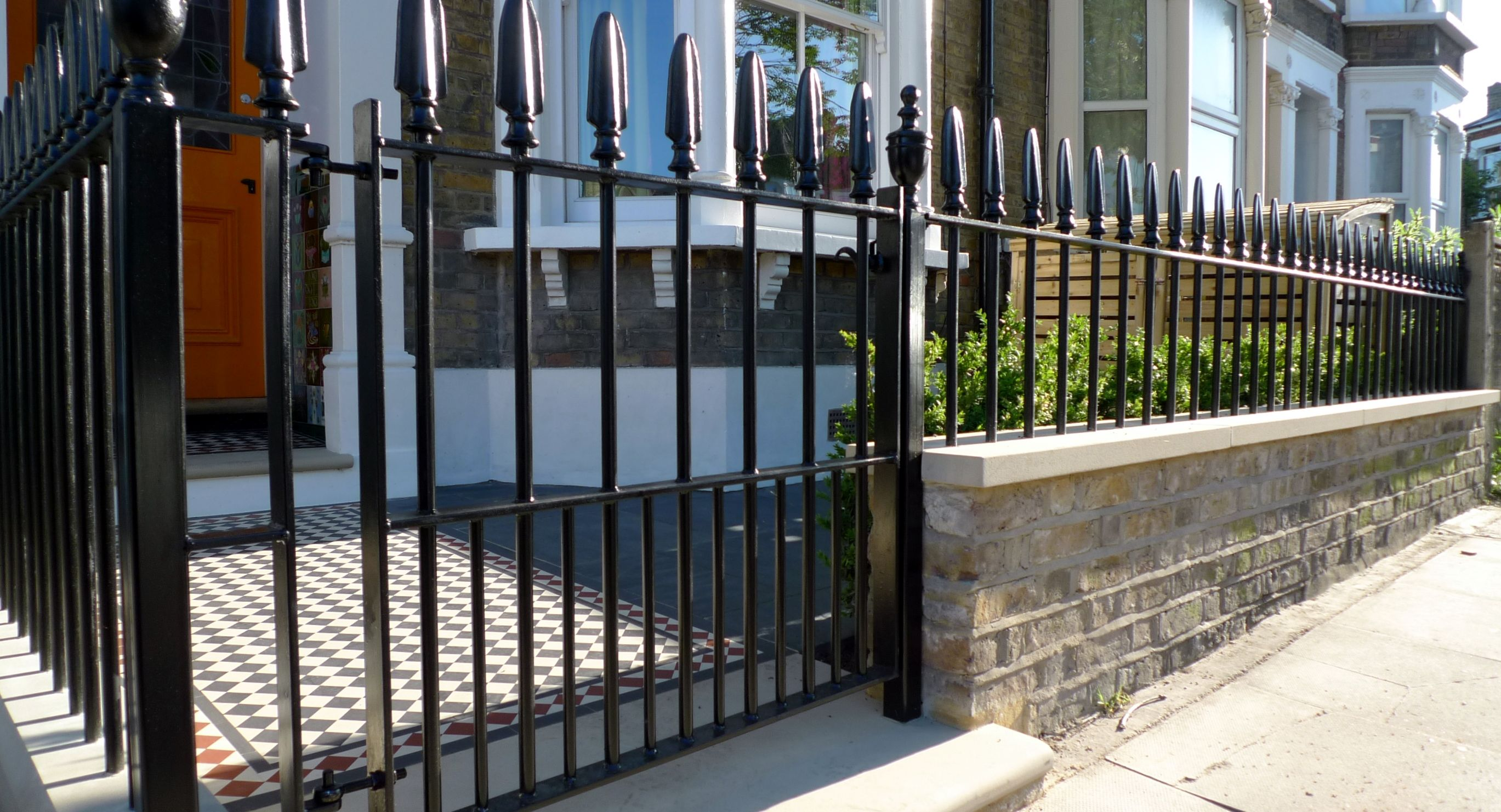 Metal gate and rail victorian london front garden company mosaic metal gate and rail victorian london front garden company mosaic paving wall yorkstone caps and bullnose londong 27381482 front garden pinterest baanklon Gallery