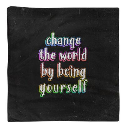 East Urban Home Change the World Quote ChalkboardNapkin, Material: Polyester, Cotton/Polyester in Rainbow, Size 22
