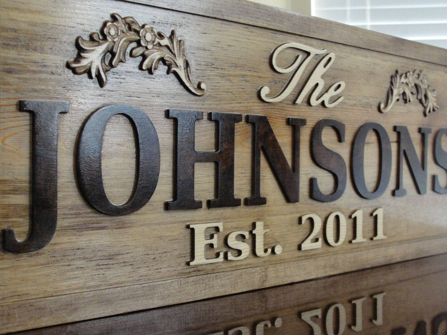 Personalized Wedding Gift Family Name Signs CARVED Custom