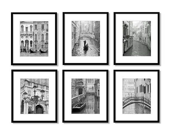 Venice Italy Travel Decor Set Of 6 Prints Black And White