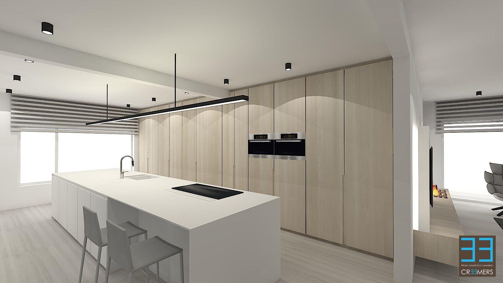 Moderne keuken met tablet in corian wit en eik fineer achterwand