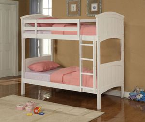 Best Quality Kids Girls Wood Twin Over Twin Bunk Bed In Cream Kids