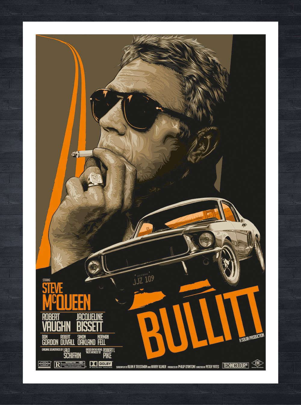 Home gt steve mcqueen porsche paintings - Bullitt Fictional Movie Film Poster Featuring Steve Mcqueen And The 1968 Ford Mustang Gt