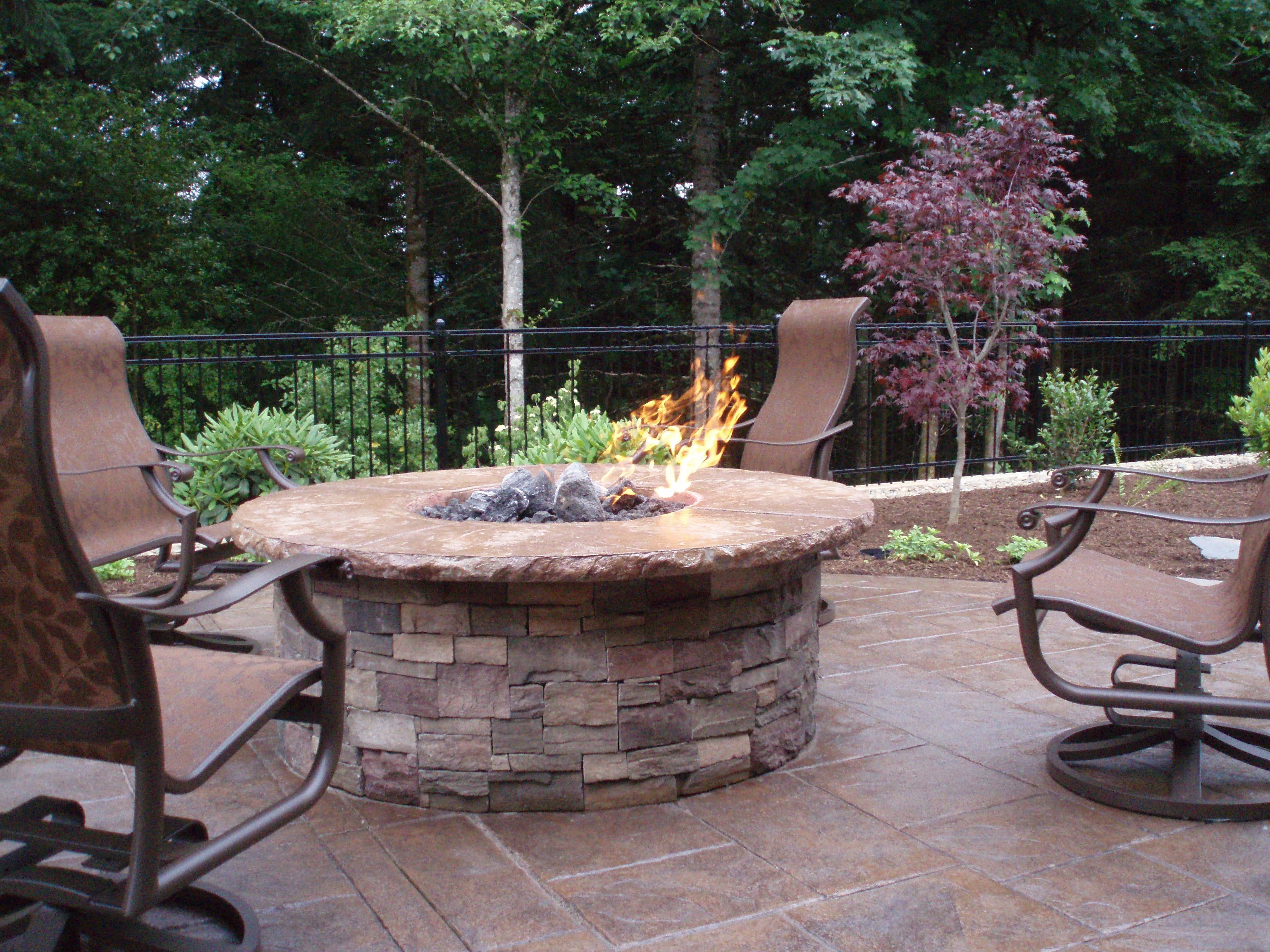 Built In Gas Fire Pit With Concrete Cap And Cultured Stone Walls