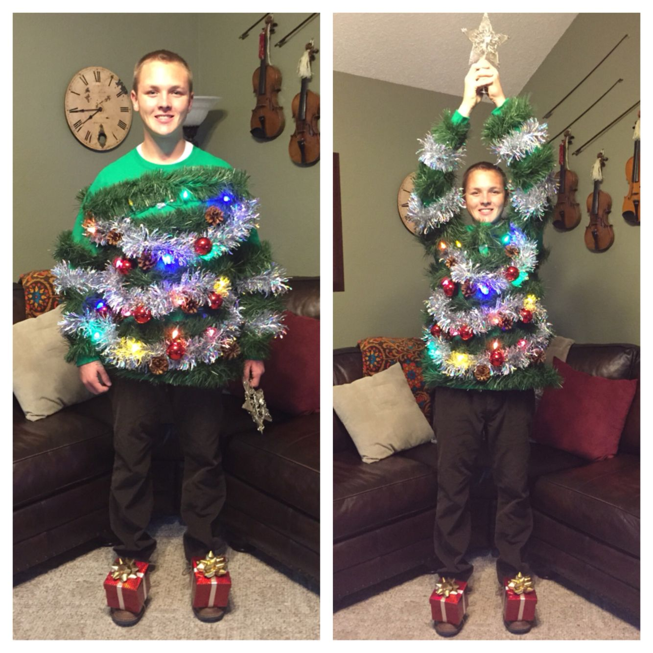 My Very Own Diy Christmas Tree Costume Complete With Presents Under The Tree And Lights Christmas Tree Costume Diy Christmas Tree Tree Costume