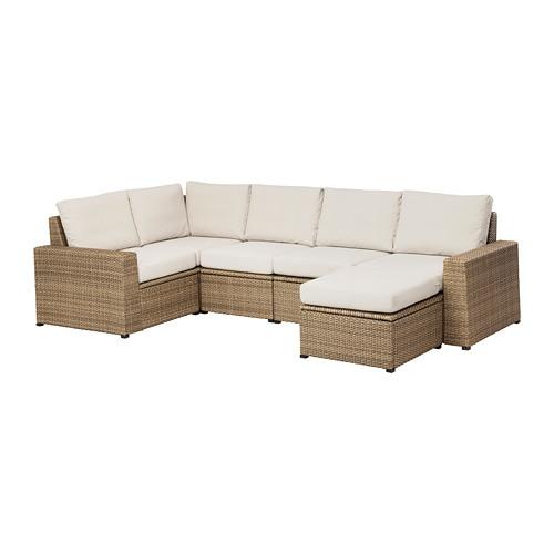 Solleron Modular Corner Sofa 4 Seat Outdoor With Footstool Brown Brown Froson Duvholmen Beige Ikea In 2020 Patio Couch Corner Sofa Modular Corner Sofa