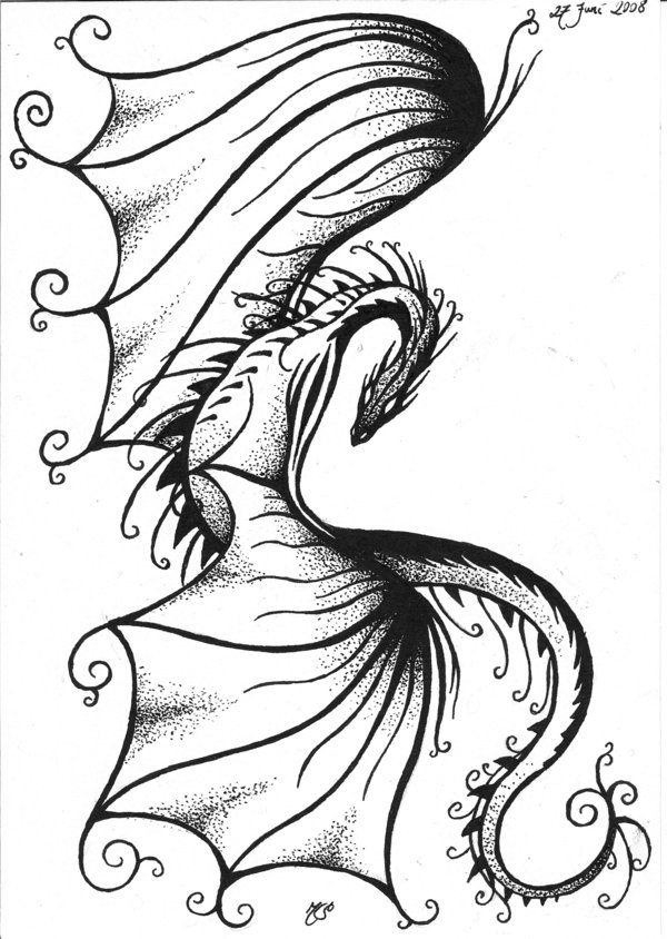Line Drawing Dragon Tattoo : Tribal dragons for sticker design inspiration