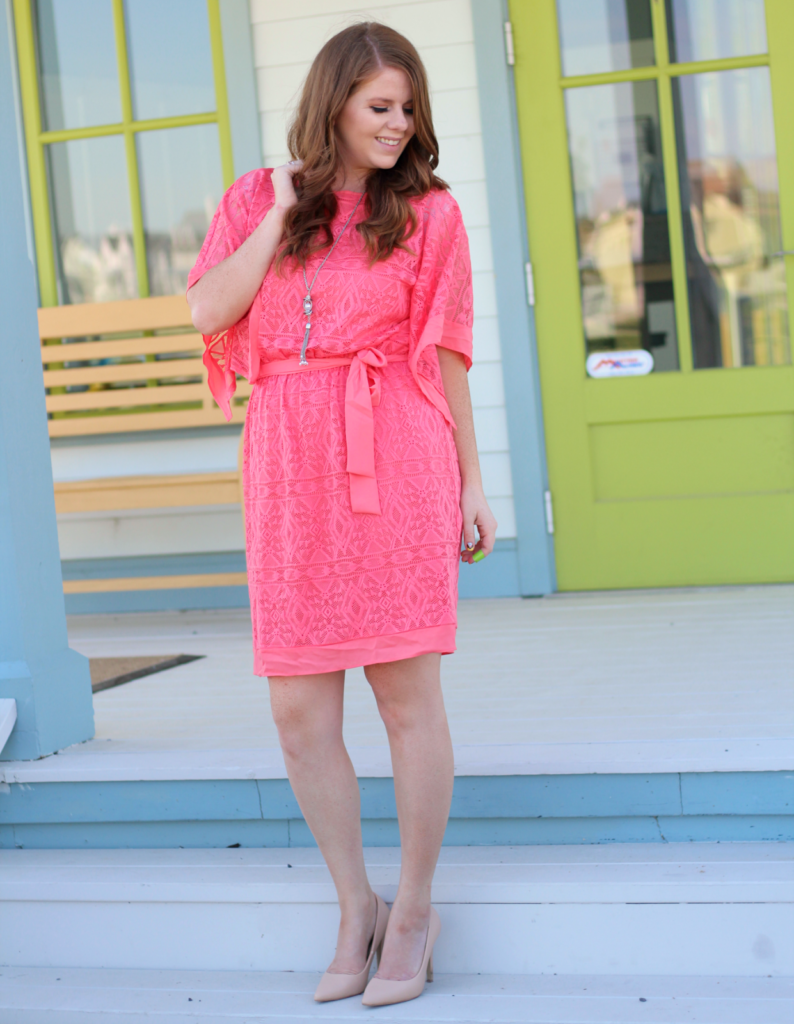 Coral summer dress. The cutest dress for your summer outing. Coral wrap dress, nude pumps, summer looks, summer outfit.