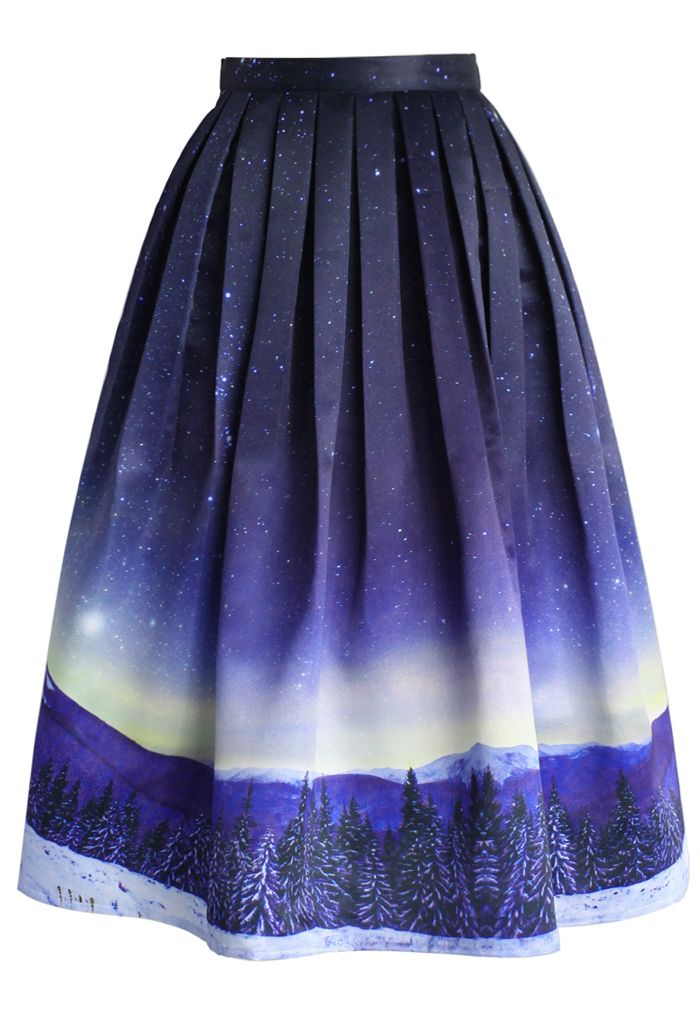 Starry Starry Night Pleated Midi Skirt - Retro, Indie and Unique Fashion